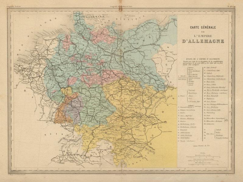 Associate Product Carte Générale de L'Empire d'Allemagne. German Empire. MALTE-BRUN c1871 map