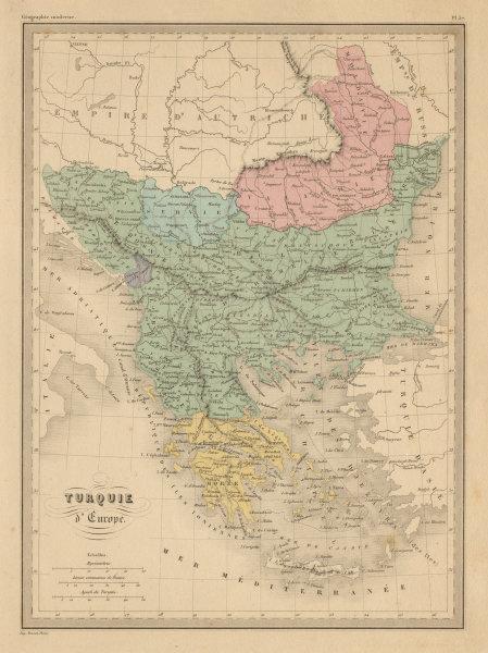 Associate Product Turquie d'Europe. Turkey in Europe Balkans Greece Wallachia MALTE-BRUN c1871 map