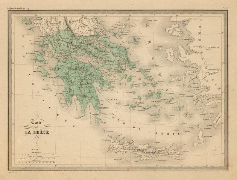 Carte de la Grèce. Map of Greece. Aegean. MALTE-BRUN c1871 old antique | eBay