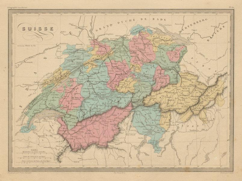 Associate Product Suisse. Switzerland in Cantons. MALTE-BRUN c1871 old antique map plan chart