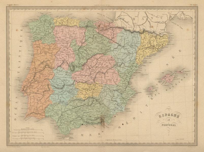 Associate Product Espagne et Portugal. Spain in regions & Portugal. Iberia. MALTE-BRUN c1871 map