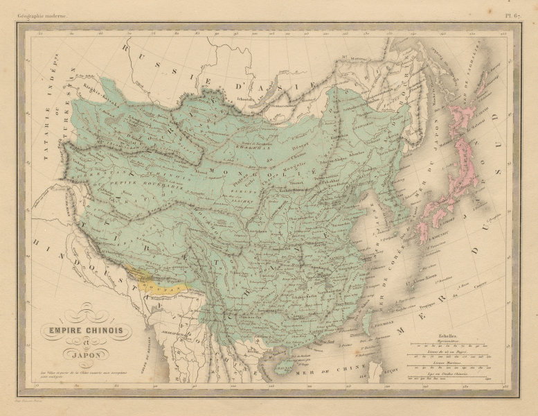 Associate Product Empire Chinois et Japon. Chinese Empire & Japan. China. MALTE-BRUN c1871 map