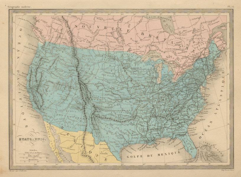Associate Product Etats-Unis. United States. USA. MALTE-BRUN c1871 old antique map plan chart