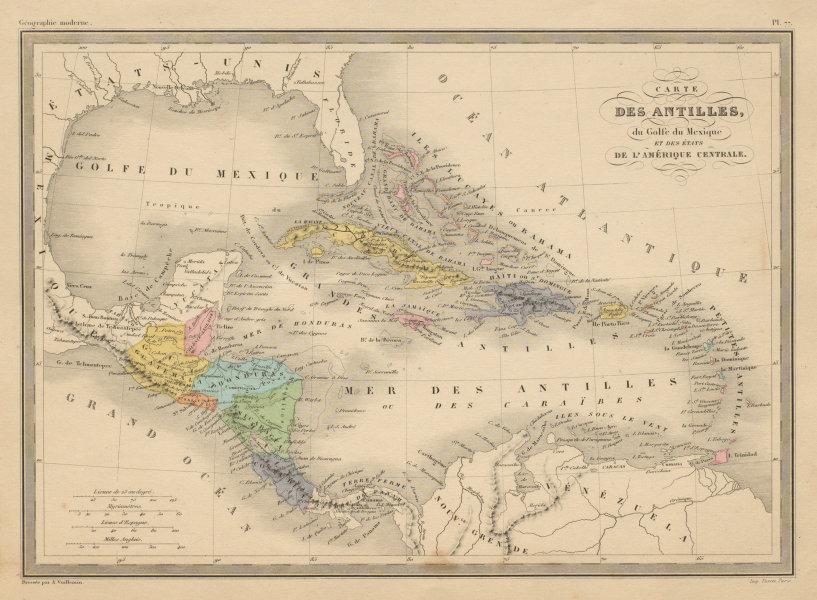 Associate Product Antilles, Golfe du Mexique & Amérique Centrale. Caribbean. MALTE-BRUN c1871 map