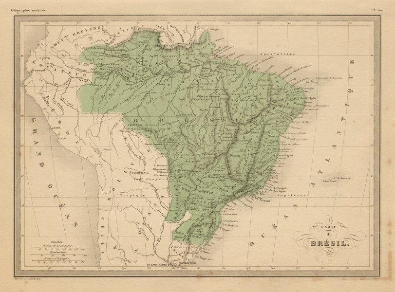 Associate Product Carte de Brésil. Brazil including occupied Paraguay. MALTE-BRUN c1871 old map