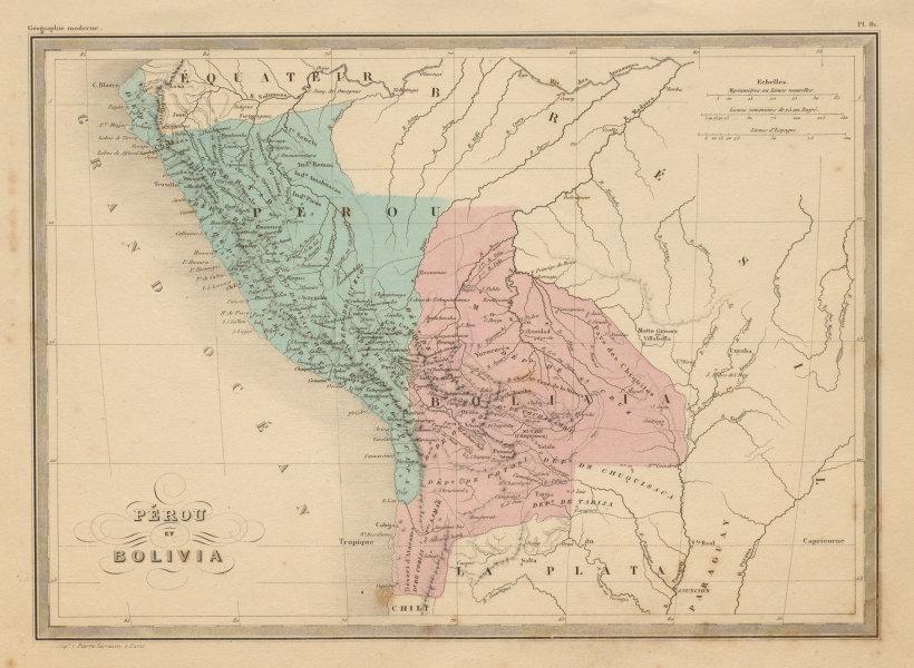 Associate Product Pérou et Bolivia. Peru and Bolivia (includes Litoral). MALTE-BRUN c1871 map