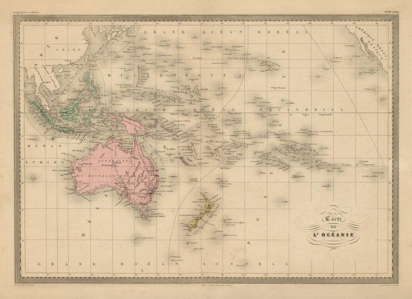 Associate Product Carte de L'Océanie. Oceania. Pacific Ocean Australasia. MALTE-BRUN c1871 map