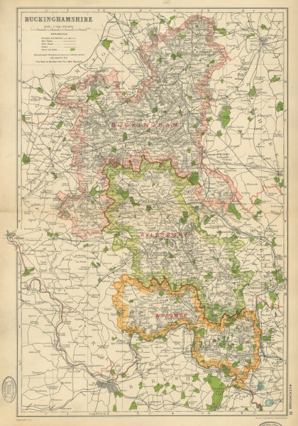 Associate Product BUCKINGHAMSHIRE. Showing Parliamentary divisions,parks & boroughs.BACON 1934 map