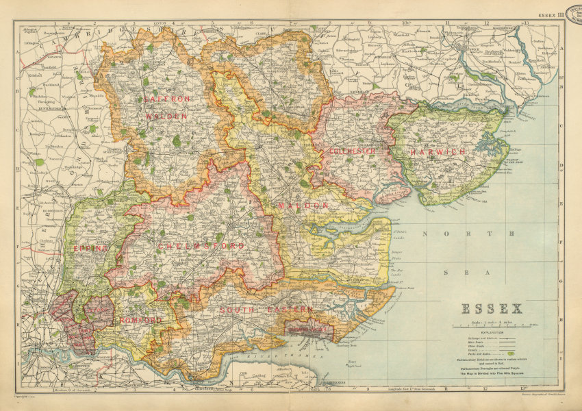 Associate Product ESSEX. Showing Parliamentary divisions, parks & boroughs. BACON 1934 old map