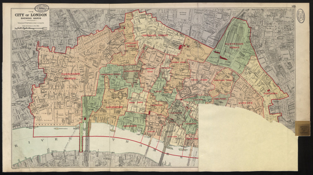 Associate Product CITY OF LONDON showing WARDS. Churches & public building plans. BACON 1934 map