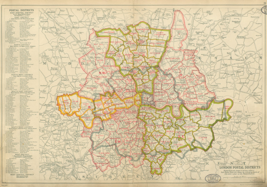 Associate Product LONDON POSTAL DISTRICTS. Post code areas. NW N W SW SE E. BACON 1934 old map