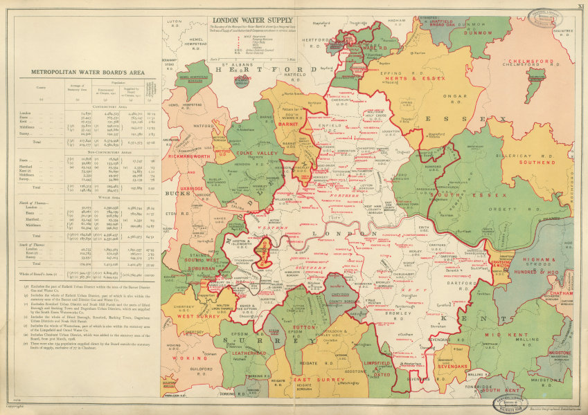 Associate Product LONDON WATER SUPPLY. Metropolitan Water Board. Pumping Stns Reservoirs 1934 map