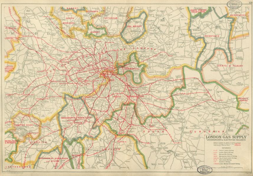 Associate Product LONDON GAS SUPPLY areas + Tube/UNDERGROUND & electrified railways.BACON 1934 map