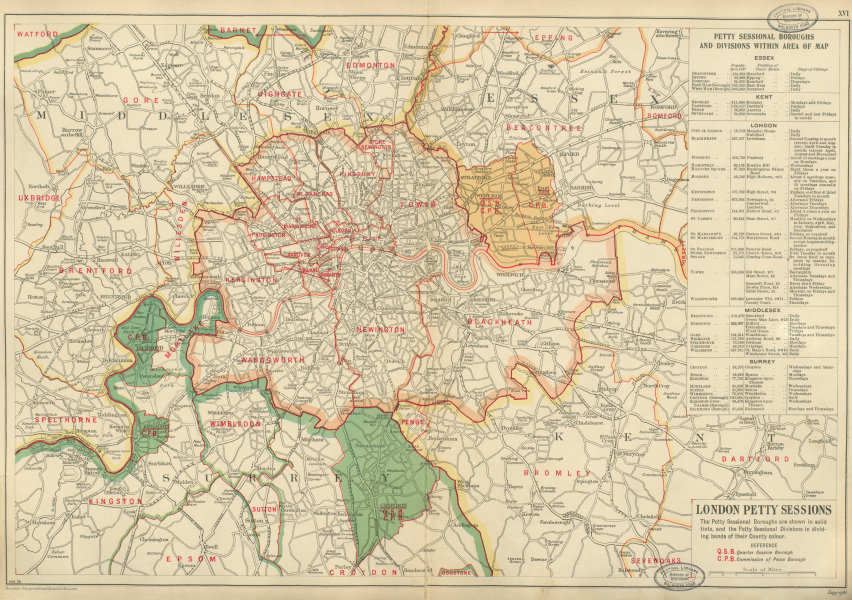 Associate Product LONDON PETTY SESSIONS/sessional boroughs/divisions. Courts Law. BACON 1934 map