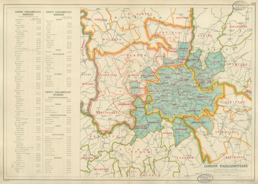 Associate Product GREATER LONDON PARLIAMENTARY Boroughs Constituencies # electors. BACON 1934 map