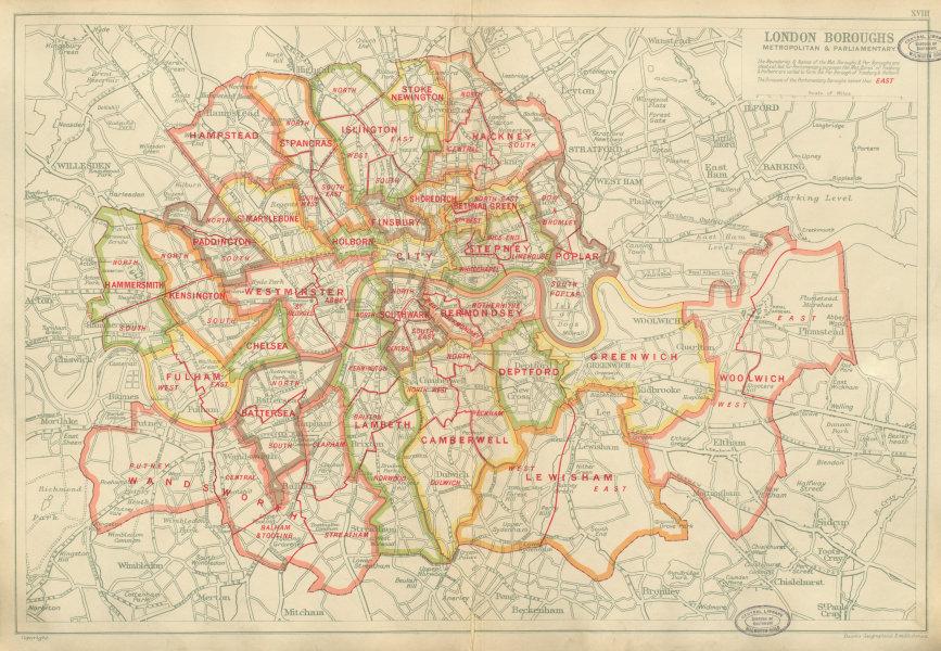 Associate Product LONDON BOROUGHS. Metropolitan & Parliamentary. Constituencies. BACON 1934 map