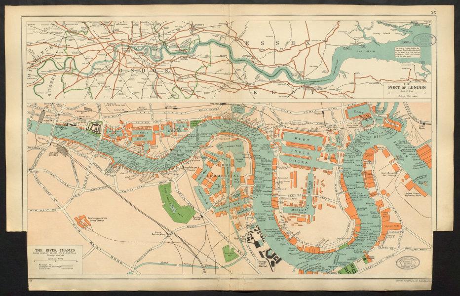 Associate Product PORT OF LONDON wharves & docks. Thames London Bridge - Blackwall. BACON 1934 map