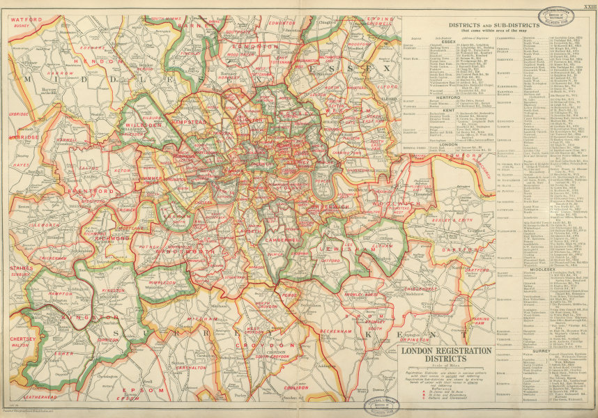 Associate Product LONDON REGISTRATION DISTRICTS & SUB-DISTRICTS. Vintage map. BACON 1934 old