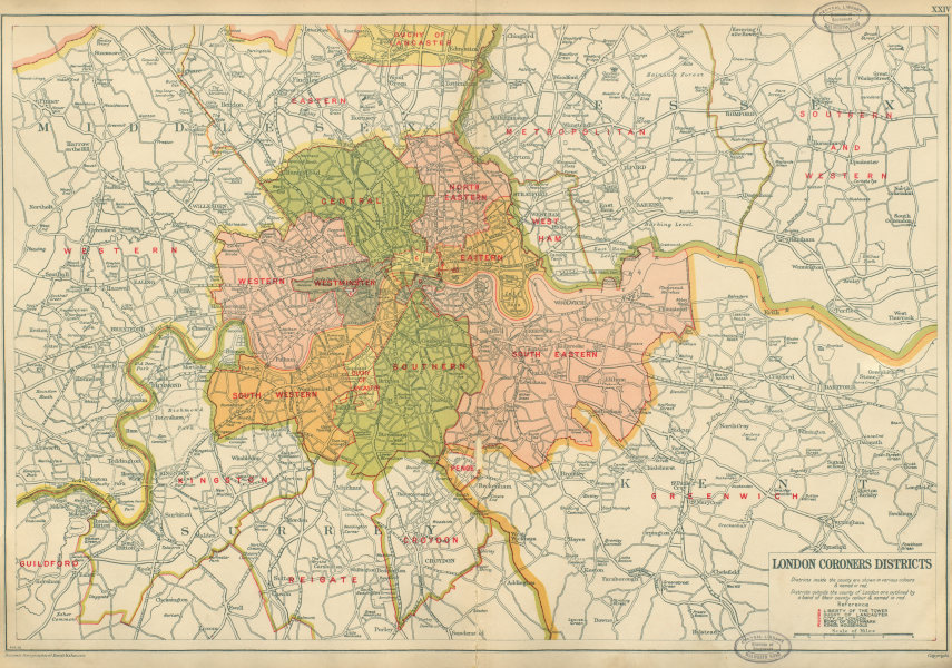 Associate Product LONDON CORONERS DISTRICTS. Vintage map. Duchy of Lancaster. BACON 1934 old