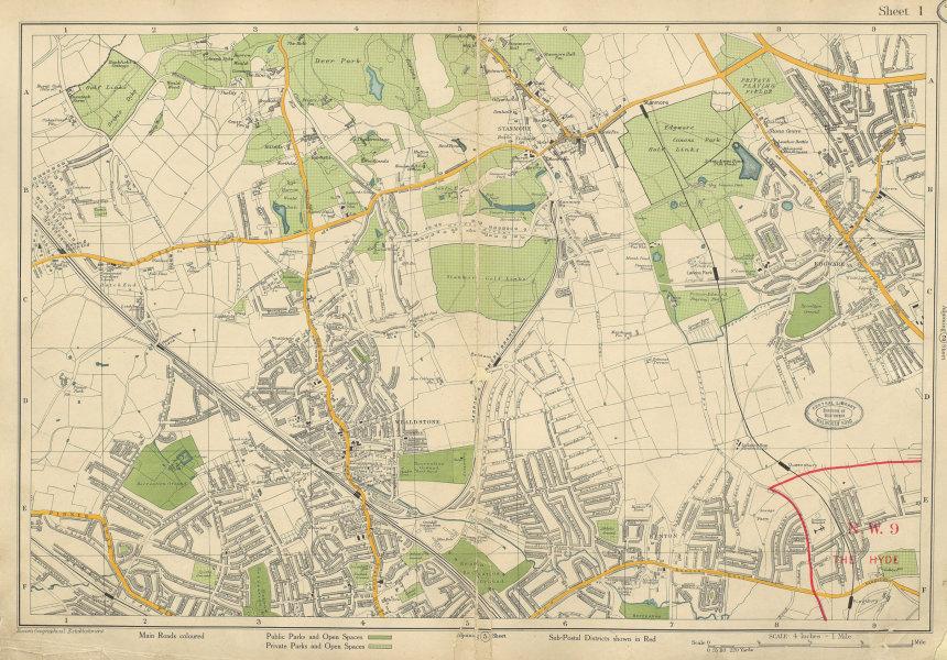 Associate Product STANMORE Wealdstone Edgware Pinner North Harrow The Hyde Kenton. BACON 1934 map