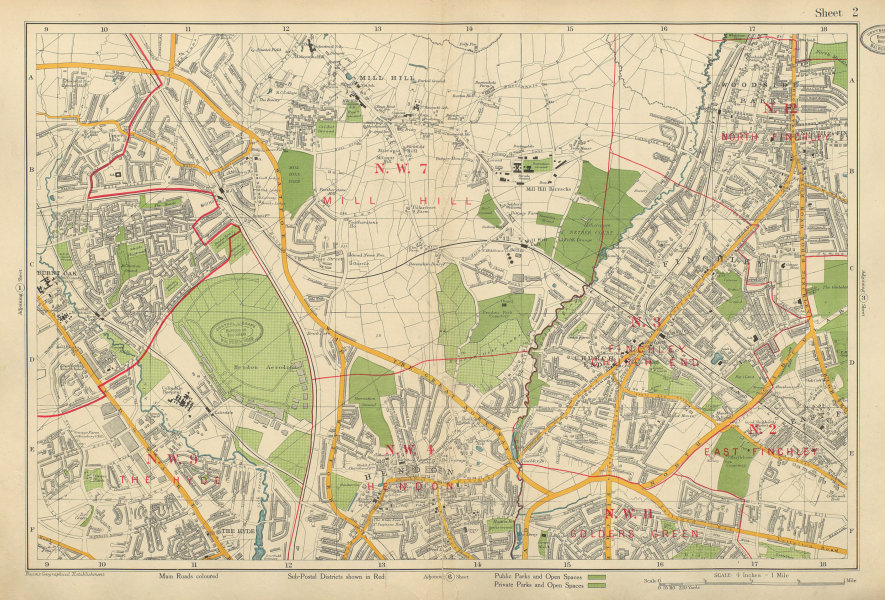 Associate Product FINCHLEY/HENDON Mill Hill Golders Green Hyde Edgware Colindale. BACON 1934 map