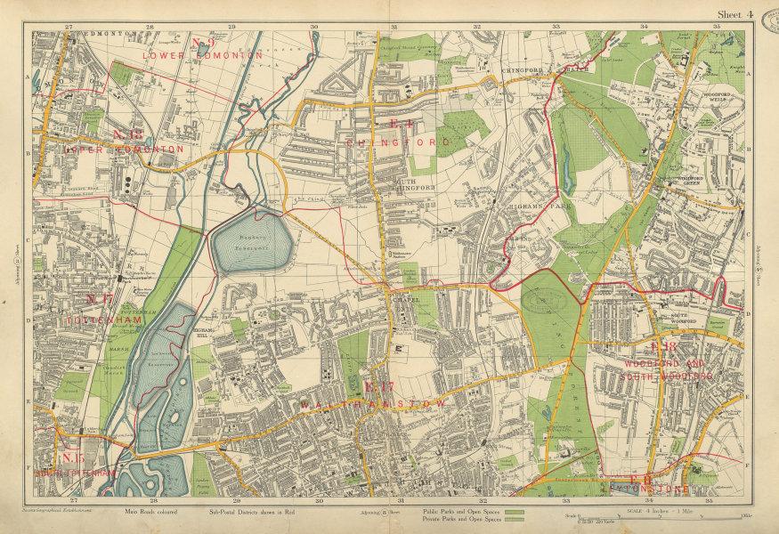Associate Product NE LONDON Chingford Walthamstow Edmonton Woodford Tottenham. BACON 1934 map