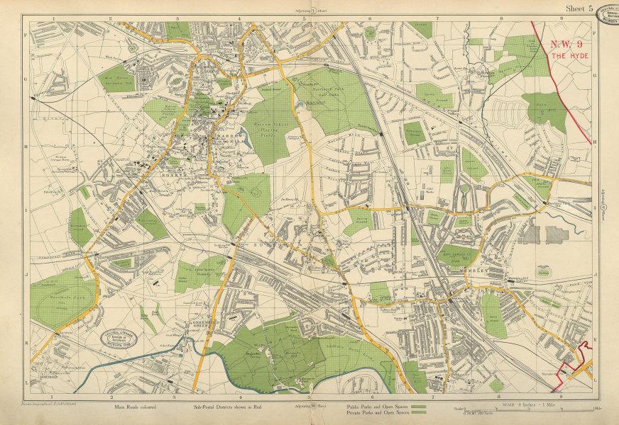 Associate Product NW LONDON Wembley Harrow on the Hill Northolt Kenton Sudbury. BACON 1934 map