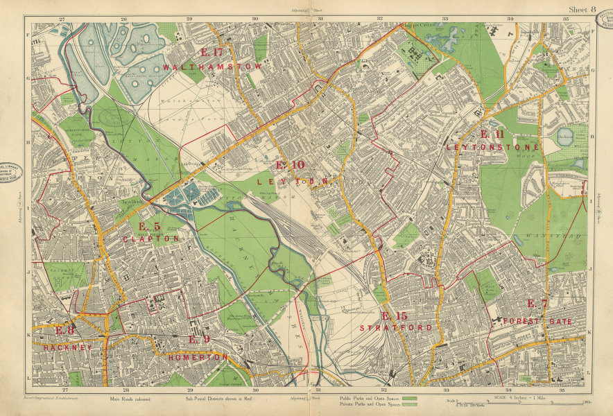 Associate Product LEYTON/STONE Clapton Forest Gate Stratford Hackney Walthamstow. BACON 1934 map