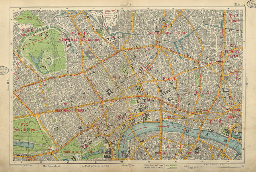 Associate Product LONDON CENTRAL Westminster West End City Southwark Islington. BACON 1934 map