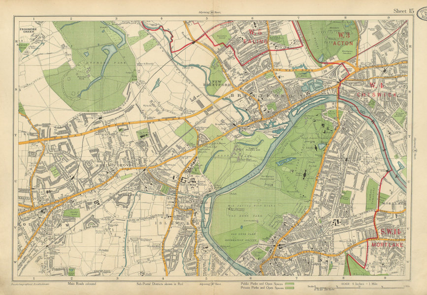 Associate Product RICHMOND HOUNSLOW Kew Brentford Isleworth Chiswick Acton Ealing. BACON 1934 map