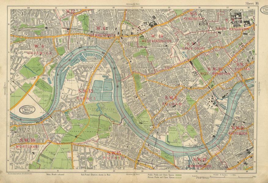 Associate Product HAMMERSMITH FULHAM Chiswick Kensington Chelsea Putney Barnes. BACON 1934 map