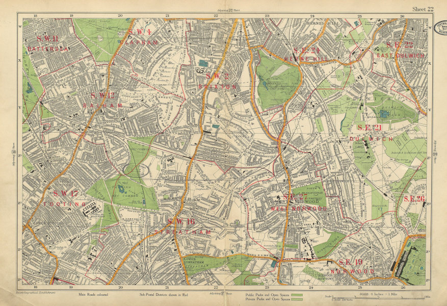 STREATHAM W Norwood Balham Brixton Tooting Dulwich Herne Hill. BACON 1934 map
