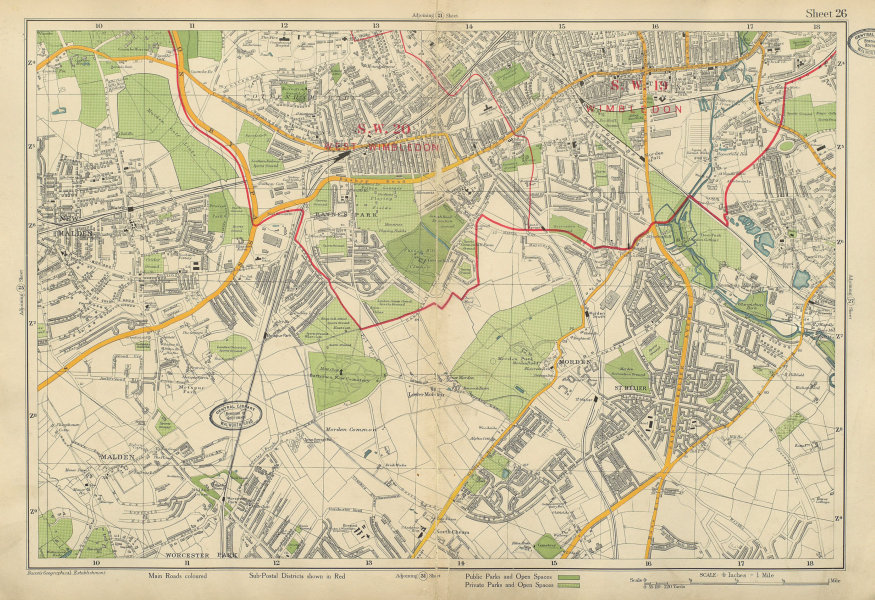 Associate Product MERTON MORDEN NEW MALDEN Worcester Raynes Cottenham Motspur Park. BACON 1934 map