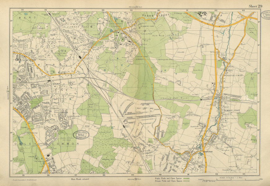 Associate Product ORPINGTON & BROMLEY Chislehurst Petts Wood St Paul's Mary Cray. BACON 1934 map