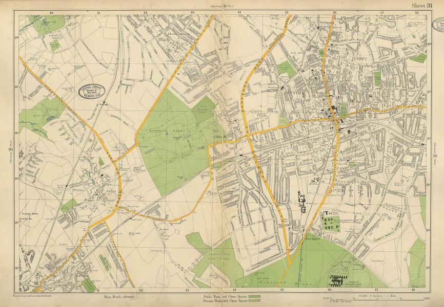 Associate Product SUTTON Epsom Cheam Belmont Carshalton Ewell Banstead Downs. BACON 1934 old map