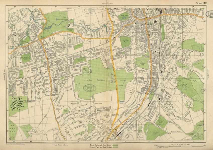 Associate Product SOUTH CROYDON Carshalton Wallington Beddington Waddon Purley. BACON 1934 map