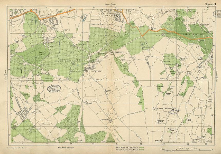 Associate Product EAST CROYDON Selsdon West Wickham New Addington Shirley Hayes. BACON 1934 map