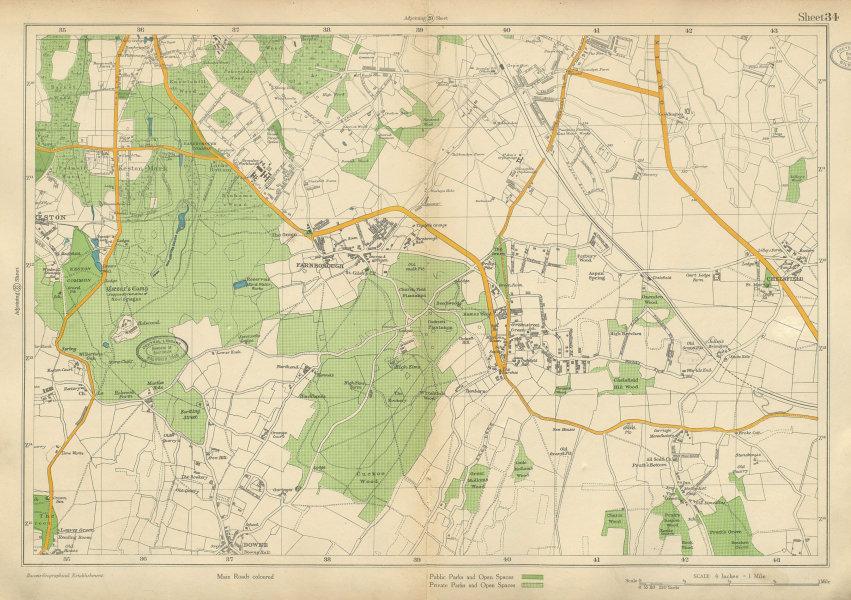 Associate Product ORPINGTON Keston Farnborough Mark Pratt's Bottom Chelsfield. BACON 1934 map