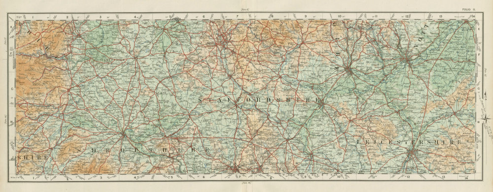 Shropshire Staffordshire Leics Notts Flintshire Derbys. ORDNANCE SURVEY 1922 map