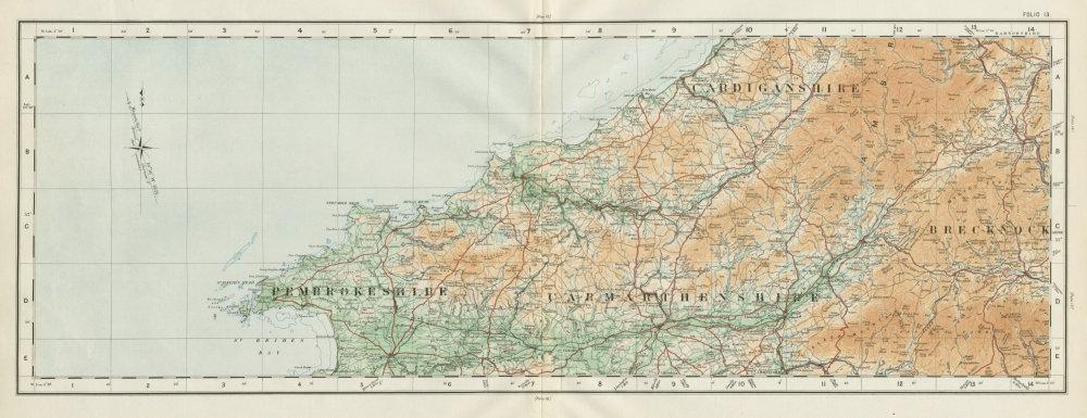 Associate Product Pembrokeshire Carmarthenshire Cardiganshire Breconshire ORDNANCE SURVEY 1922 map