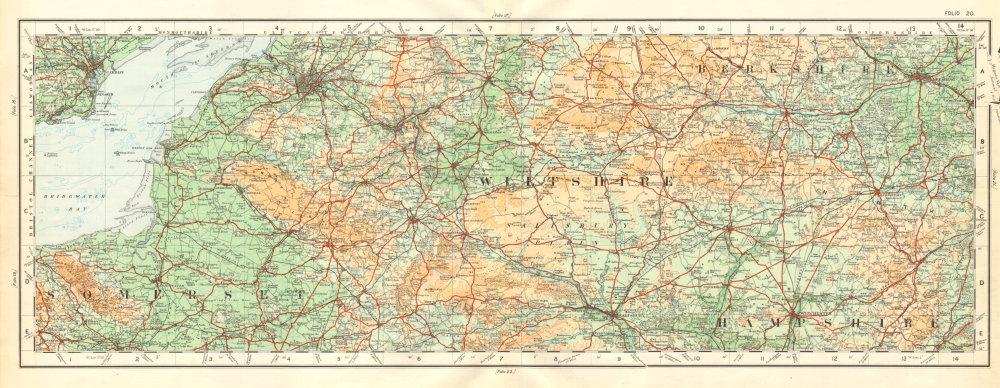 Associate Product Somerset Wiltshire Berkshire Hampshire Salisbury Plain. ORDNANCE SURVEY 1922 map