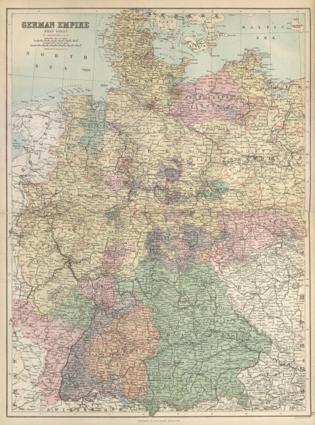 Associate Product German Empire West Sheet. Germany. BARTHOLOMEW 1882 old antique map plan chart