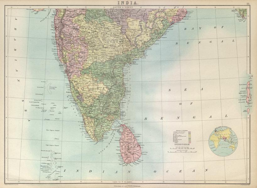 Associate Product South India. Sri Lanka Ceylon. Mysore. Nizam's Dominions. BARTHOLOMEW 1882 map