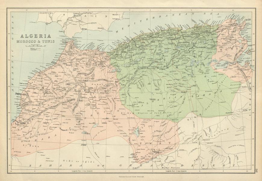 Associate Product Algeria Morocco & Tunis. North Africa. Tunisia. BARTHOLOMEW 1882 old map