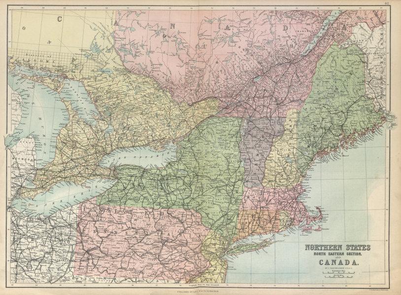 Associate Product North East USA & Canada. Great Lakes. New England NY PA. BARTHOLOMEW 1882 map