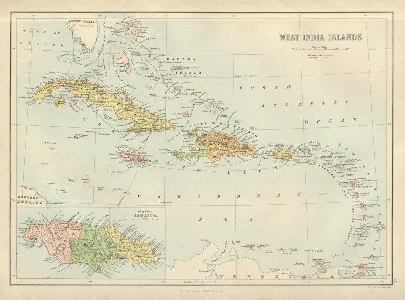 Associate Product West India Islands. West Indies Caribbean Jamaica Antilles. BARTHOLOMEW 1882 map