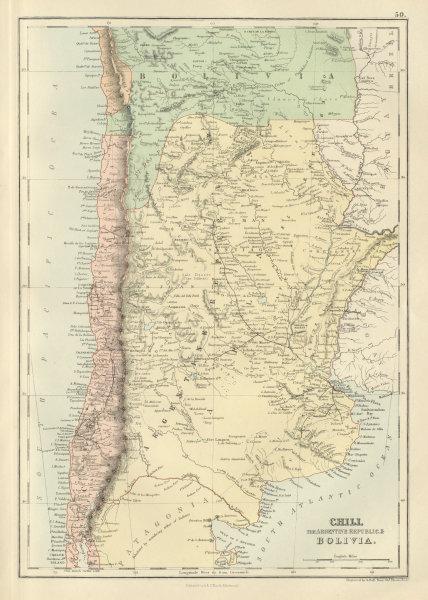 Associate Product Chili Argentine Republic Bolivia w/ Litoral Chile Argentina BARTHOLOMEW 1882 map
