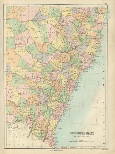 Associate Product New South Wales Eastern / coast. Australia. Railways. BARTHOLOMEW 1882 old map