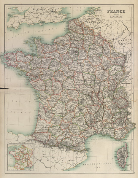 Associate Product France without Alsace Lorraine. Departements. BARTHOLOMEW 1898 old antique map