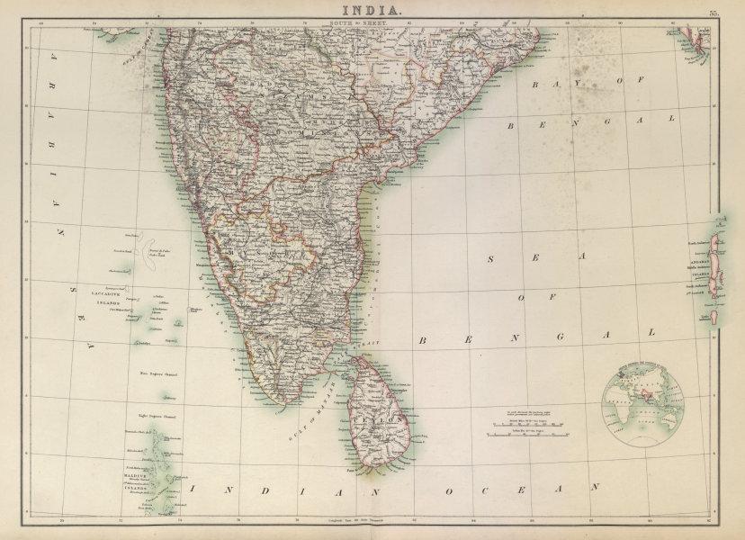 Associate Product South India. Sri Lanka Ceylon. Mysore. Maldives Laccadives. BARTHOLOMEW 1898 map